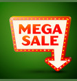 retro billboard with inscription mega sale vector image vector image