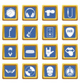 rock music icons set blue vector image vector image