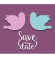 Save the date and couple of doves design vector image vector image