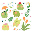 set cute frogs isolated on a white background vector image