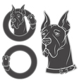 Set drawing of the dog in the collar vector image vector image