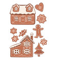set gingerbread cookies isolated on white vector image