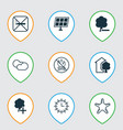 set of 9 eco-friendly icons includes house cloud vector image vector image