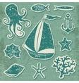 silhouette sea - hand drawn set sea symbols vector image vector image