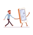 Smartphone and man are walking holding a hand vector image