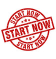start now round red grunge stamp vector image vector image