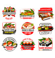 sushi bar or cafe and restaurant japan icons vector image