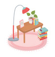 sweet home table with books plant floor lamp and vector image vector image
