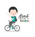 welcome back to school background with boy vector image vector image