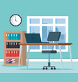 workplace office scene icons vector image