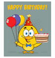 yellow chick cartoon character wearing a party hat vector image vector image