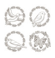 set drawing wreath decoration flowers a vector image