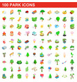 100 park icons set isometric 3d style vector image vector image