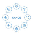 8 dance icons vector image vector image