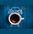 alarm clock and coffee concept vector image