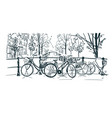 amsterdam bicycles sketch line sketch vector image