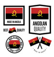 angola quality label set for goods vector image vector image