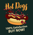banner with hot dog in retro style vector image vector image