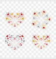 beautiful heart-fireworks set romantic salute vector image vector image
