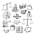 black and white sketchof business set vector image vector image