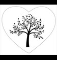 black tree in heart shape vector image