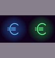 blue and green neon euro sign vector image vector image
