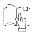 book with hand pointing vector image vector image