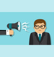 businessman scolded into a megaphone vector image vector image