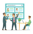 businessmen discussing investors or creative vector image vector image