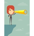 Businesswoman looking for business future on the vector image vector image