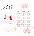 calendar for 2012 with woman vector image vector image