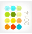 Calendar grid 2014 for your design vector image vector image