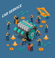 car service isometric composition vector image