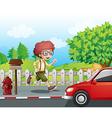 Cartoon Running Boy vector image vector image