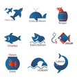 different types fish in minimalist design vector image