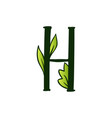 doodling eco alphabet letter htype with leaves vector image