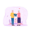 elderly couple giving each other gifts vector image vector image