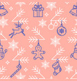 festive pattern with christmas symbols on pink vector image