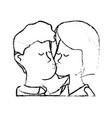 figure cute couple kissing a romantic scene vector image vector image