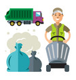 garbage truck and collector flat style colorful vector image vector image