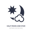 half moon and star icon on white background vector image vector image