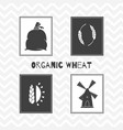 Hand drawn silhouettes wheat or flour posters