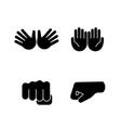 hand gesture emojis glyph icons set vector image vector image