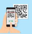 hand with phone scanning qr code flat style icon vector image vector image