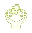 hands and bicycle icon vector image vector image