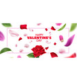happy valentines day blurred petals leaves vector image