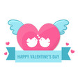 heart with wings and lovebirds vector image