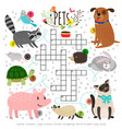 kids crosswords with pets children crossing word vector image vector image