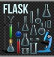 laboratory flask set glassware beaker vector image vector image