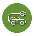 line icon of electric car with shadow eps 10 vector image